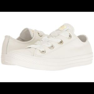 White leather converse with Big Eyelets sneakers